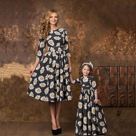Mom Girl Daisy Prints Bowknot Decorate Matching Dress
