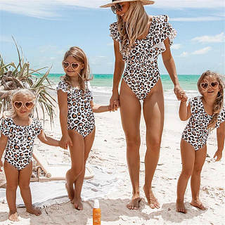 ff587a971b1a6 Mom Girl Leopard Grain Falbala One Piece Matching Swimwear