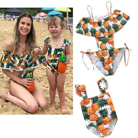 Mom Girl Pineapple Prints Matching Swimwear