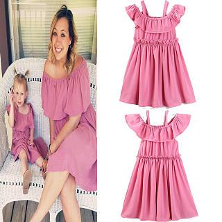 2ae2f63c8d Mom Girl Solid Color Falbala Cold Shoulder Matching Dress