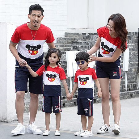 Color Block Cartoon Pattern Family Matching Top