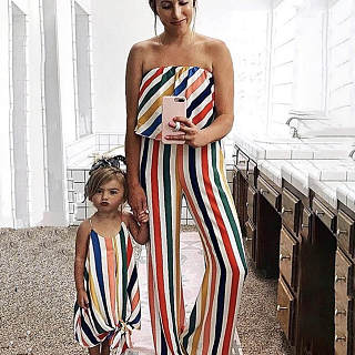 4641bf737a Mom Girl Color Stripe Self Tie Bowknot Matching Outfits