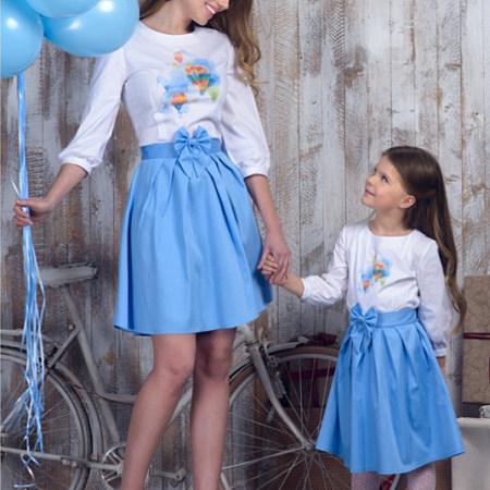 Mom Girl Balloon Bowknot Decorate Matching Dress