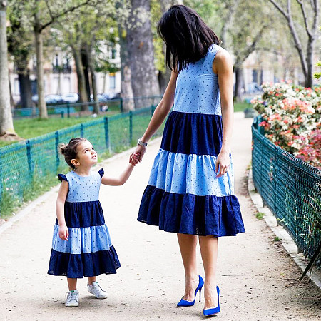 Mom Girl Color Block Heart Prints Matching Dress