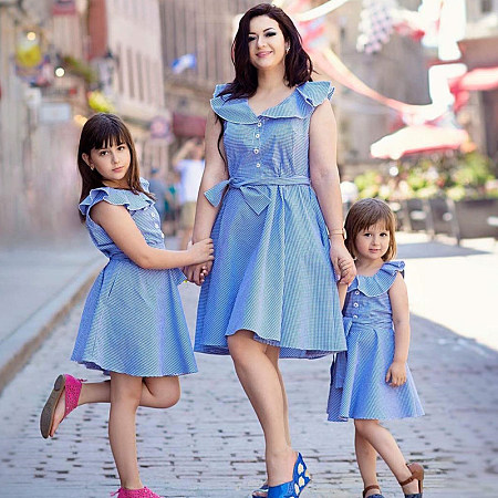 Mom Girl Plaid Falbala Bowknot Decorate Matching Dress