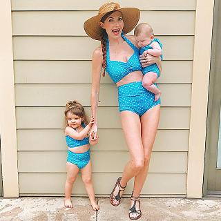 Mom Girl Dot Prints Self Tie Matching Swimwear