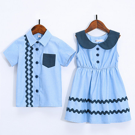 97c214490144 Brother Sister Wave Stripes Doll Collar Matching Outfits Only $12.06 -  popreal.com
