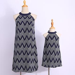 6e43c4b68e Mom Girl Wave Stripes Self Tie Bowknot Halter Shift Matching Dress Add to  Bag
