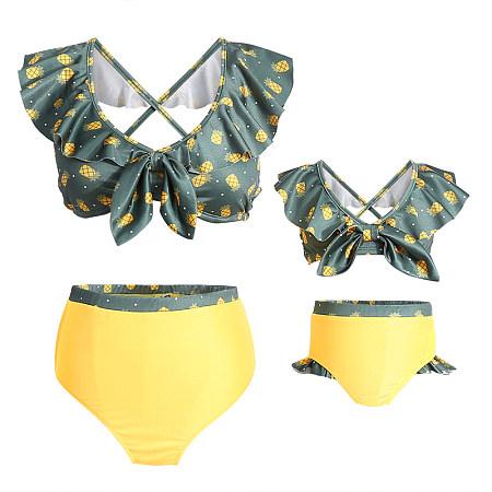 Mom Girl Falbala Bowknot Decorate Pineapple Prints Matching Swimwear
