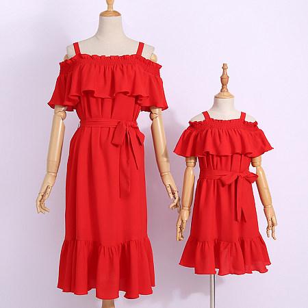 dafada9c8e Mom Girl Solid Color Falbala Self Tie Matching Dress Only $17.04 -  popreal.com