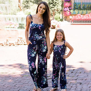 Mom Girl Self Tie Floral Prints Matching Outfits