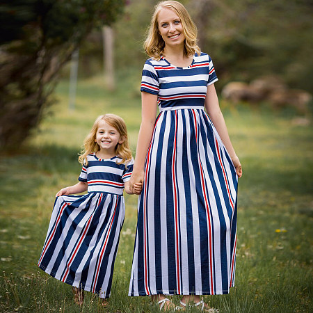 Mom Girl Colorful Stripes Matching Dress