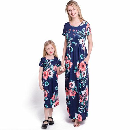 Mom Girl Flower Pattern Matching Long Dress