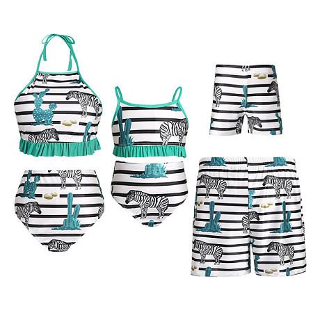 Black And White Stripes Zebra Pattern Family Matching Beachwear