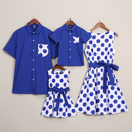 Dot Prints Color Block Bowknot Decorate Family Matching
