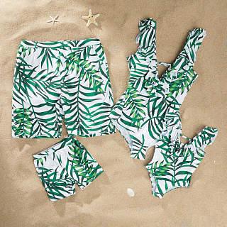 c0a8f3652c8ba Tropical Palms Ruffle Trim Prints Family Matching Beachwear