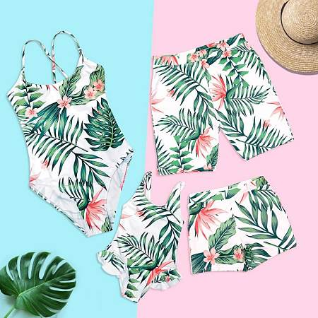 Tropical Palms Flower Prints Family Matching Beachwear, 6599758