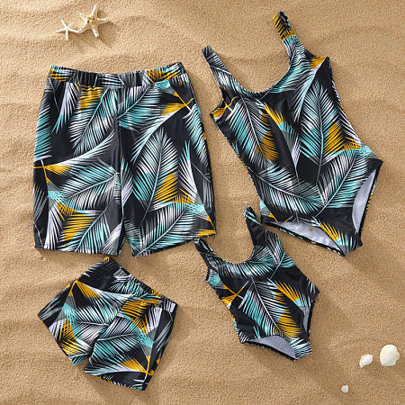 Color Block Tropical Palms Prints Family Matching Beachwear, 6601796