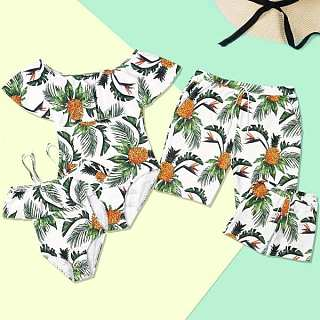 287936623dc88 Pineapple Tropical Palms Prints Family Matching Beachwear