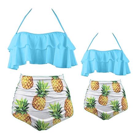 Mom Girl Pineapple Prints Halter Matching Swimwear