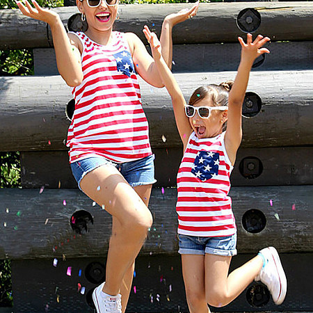 Mom And Me Red Biue Stripes Matching Top