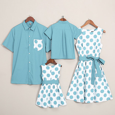 e3cf7f28 3days22:59:53. 0.6. Clearance. Dot Prints Color Block Bowknot Decorate  Family Matching Outfits
