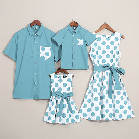 Dot Prints Color Block Bowknot Decorate Family Matching Outfits, 6776723