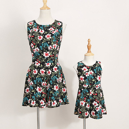 Mom Girl Open Back Cross Strap Floral Prints Matching Outfits, 6791600