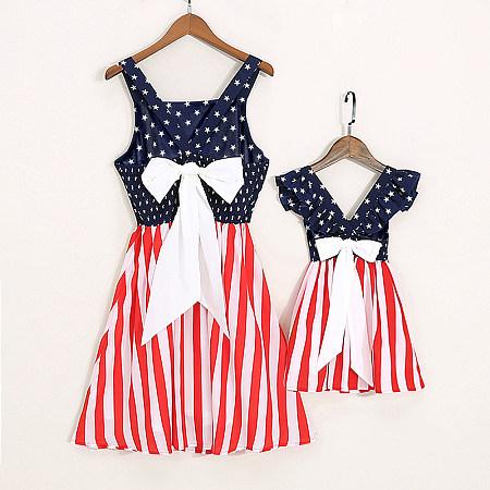 Mom Girl Bowknot Decorate Stripes Star Pattern Matching Dress, 6791613