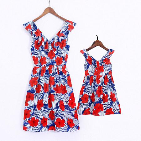 Mom Girl Floral Prints Matching Dress, 6798826
