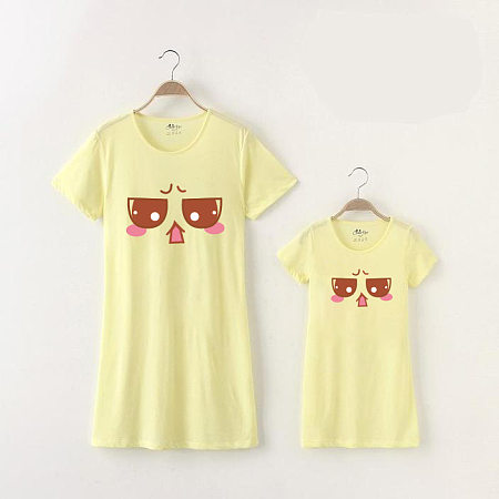 Mom Girl Solid Color Cartoon Emoji Matching Top, 6803926