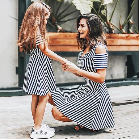 Mom Girl Cold Shoulder Stripes Matching Dress