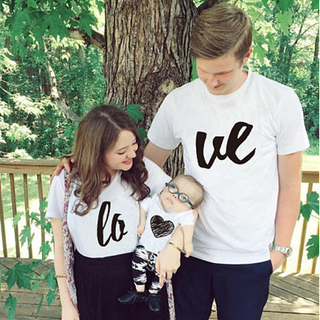 Love Heart Pattern Family Matching Outfits, 6851848