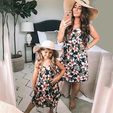 Mom Girl Floral Prints Matching Skirt, 6852122