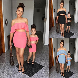 88a307c97b Mom Girl Solid Color Falbala Matching Dress Only $13.42 - popreal.com