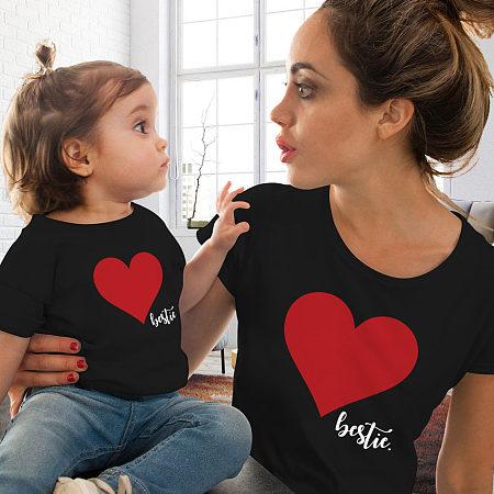 Mom Girl Heart Pattern Matching T-Shirt, 6852592