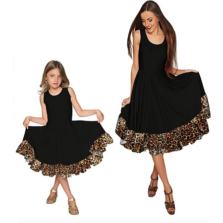 Mom Girl Leopard Grain Decorated Matching Dress, 6855545