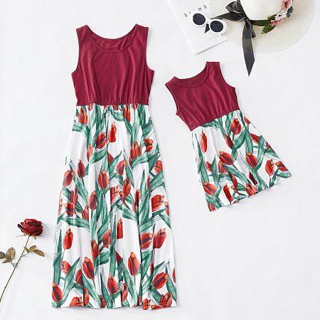 Mom Girl Tulip Pattern Matching Dress, 6865679
