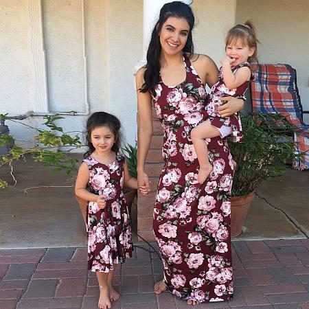 Mom Girl Flower Pattern Sleeveless Matching Dress, 6865539