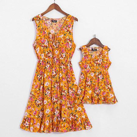 Mom Girl Floral Prints Matching Dress, 6903584