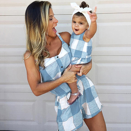 6ef8039bca0 Mom Girl Plaid Color Block Matching Outfits
