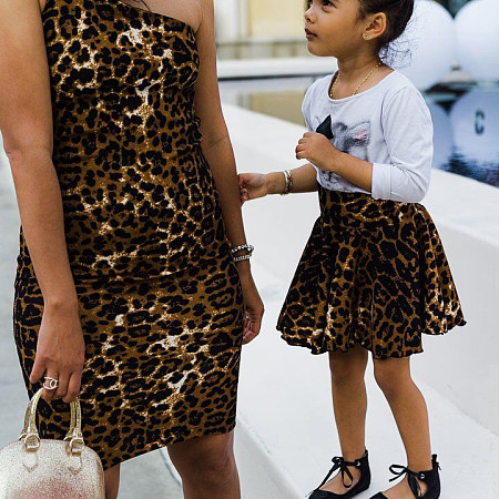 Mom Girl Leopard Pattern Matching Dress, 7017023