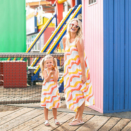 Mom Girl Colorful Wave Stripes Matching Dress