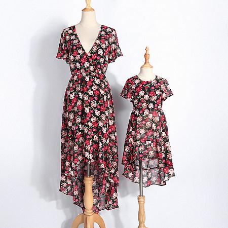 Mom Girl Asymmetrical Floral Prints Matching Dress, 7018320