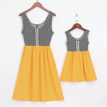 Mom Girl Swallow Gird Sleeveless Matching Skirt