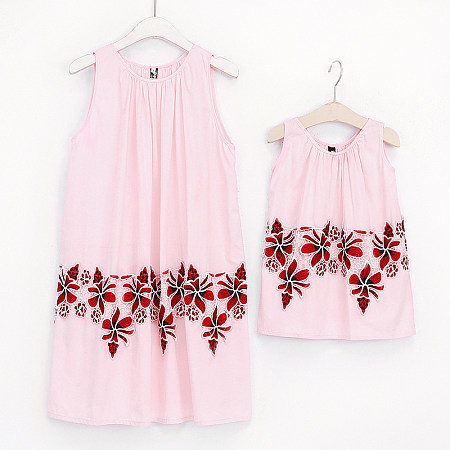 Mom Girl Halter Neck Flower Pattern Matching Dress