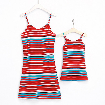 Mom Girl Colorful Stripes Sleeveless Matching Skirt