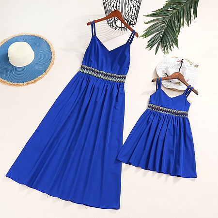 Mom Girl Solid Color Geometric Pattern Belt Matching Dress