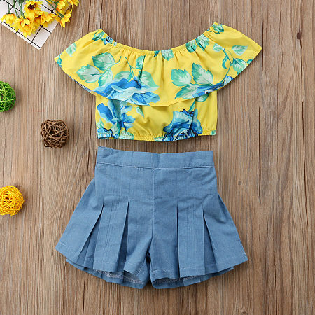 Off-Shoulder Falbala Bowknot Decorate Sets