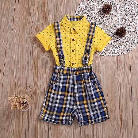 Plaid Bib Short Sets